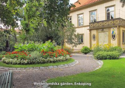 Vykort med bild på Westerlundska gårdens gård